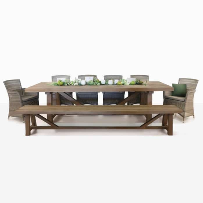 recycled teak and wicker outdoor dining set for ten people