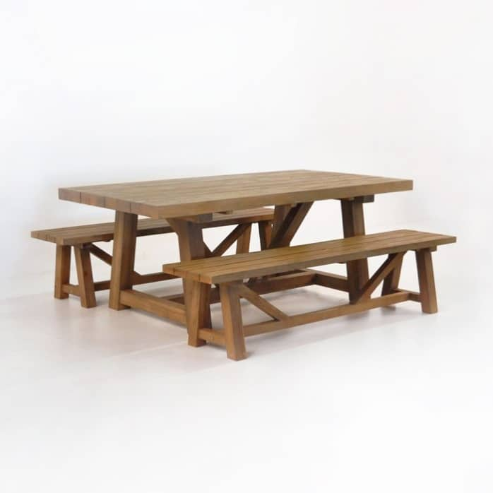 Trestle Dining Table and 2 Bench Outdoor Dining Set-0