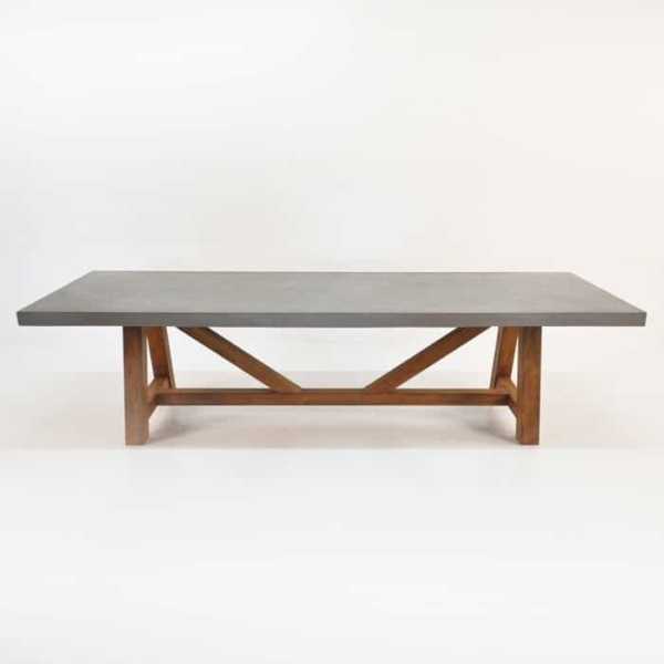 Raw Concrete Trestle Dining Tables-1595