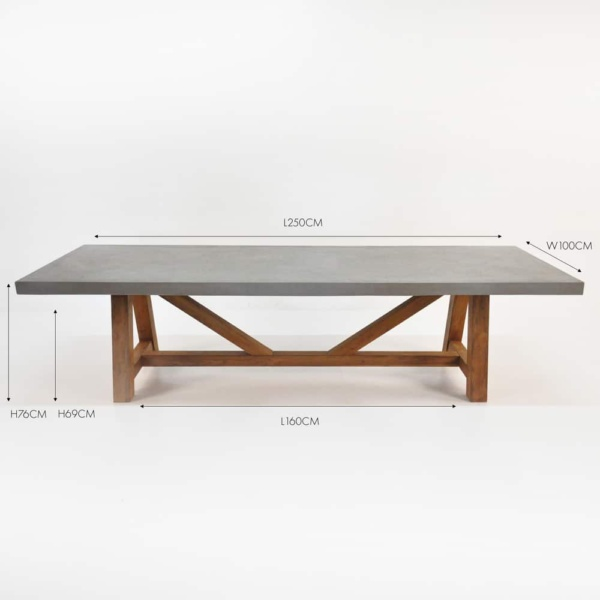 concrete and teak rectangular trestle dining table
