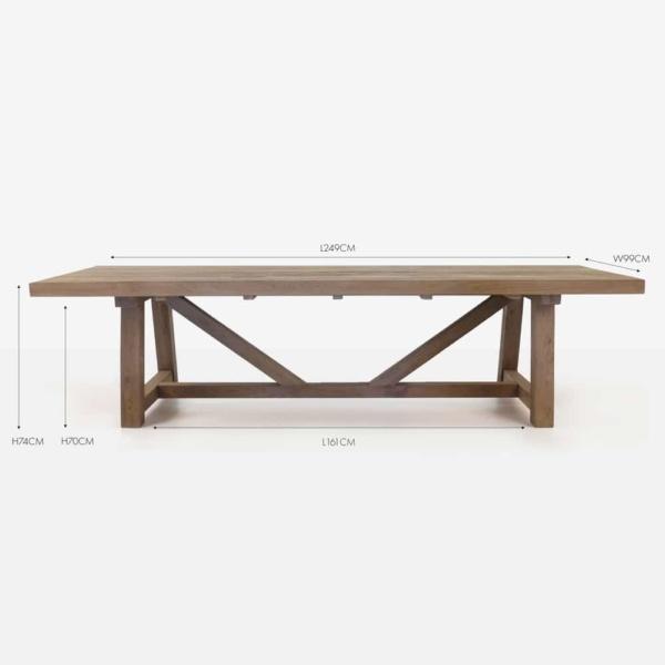 reclaimed teak rectangular trestle dining table