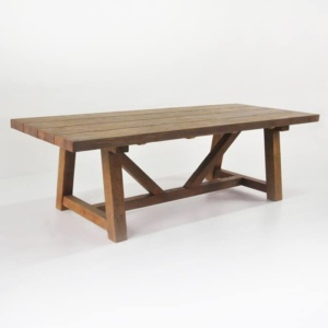 Outdoor Dining Set Reclaimed Teak Trestle Table & Bench with 5 Wicker Chairs-2743