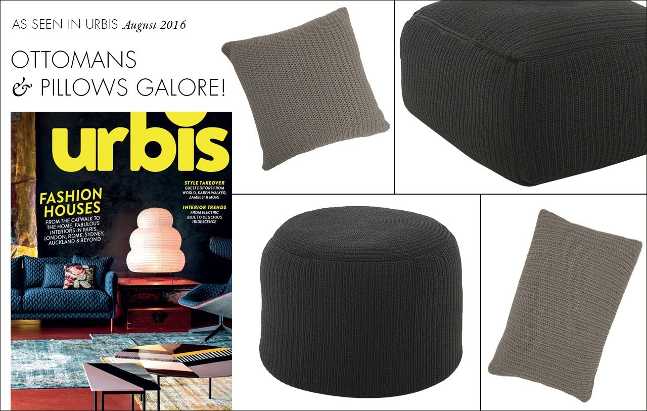 Ottomans and Pillows featured in Urbis Fashion House issue