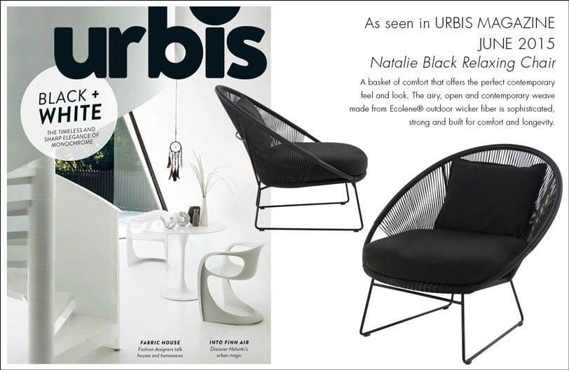 Natalie Black Outdoor Lounge Chair As seen in Urbis June issue