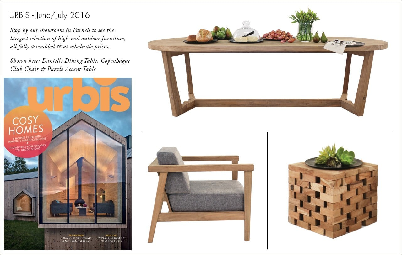 Gorgeous Danielle Dining Table, CopenHague Club Chair and Accent Table featured in Urbis magazine