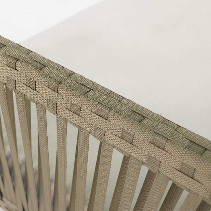 Willow sunbrella strapping and teak frame furniture closeup