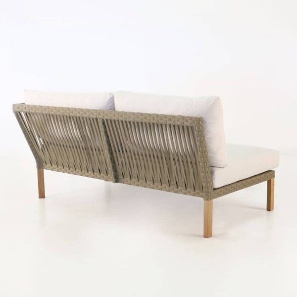 Willow outdoor teak daybed with teak legs and white cushions
