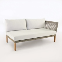 Willow patio daybed with left arm and teak legs