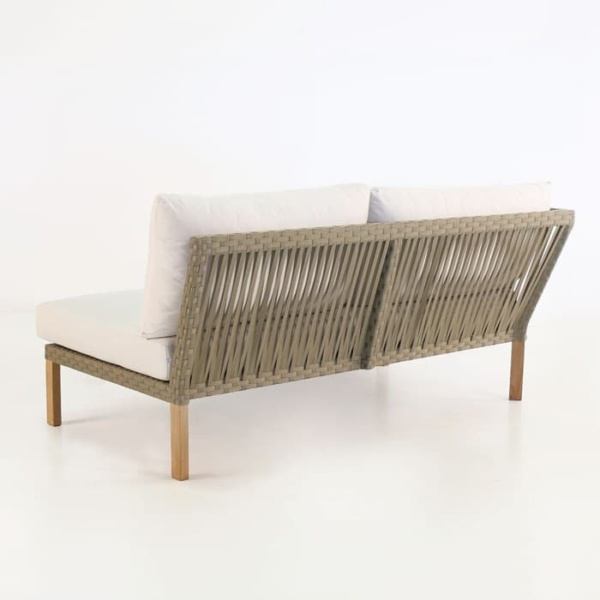 Willow outdoor daybed with teak legs and white cushions