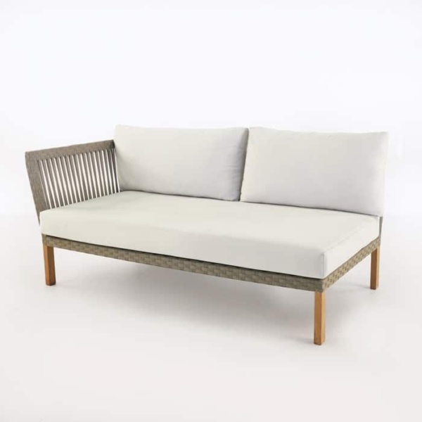 Willow right arm teak daybed with white cushions