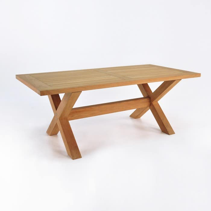 Teak Dining Set   X Leg Table with Bench & 5 Chairs-2750