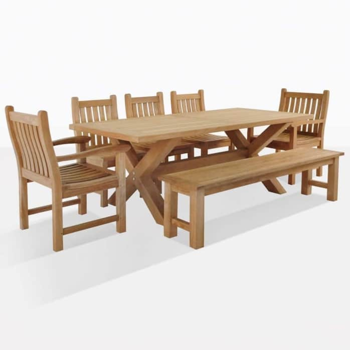 X Leg Table Set w/Bench + 5 Chairs | Design Warehouse NZ