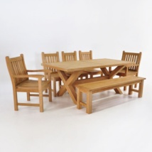 Teak Dining Set | X Leg Table with Bench & 5 Chairs-0