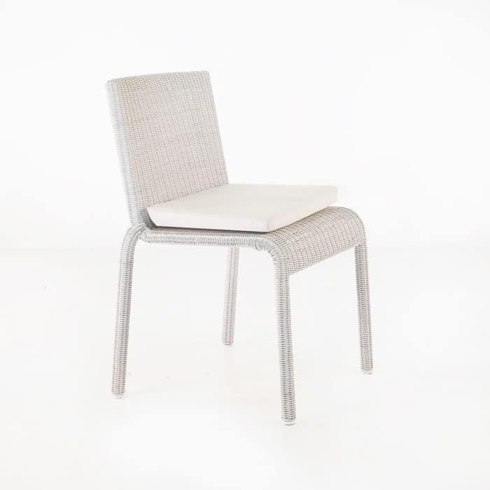 modern white wicker dining chair
