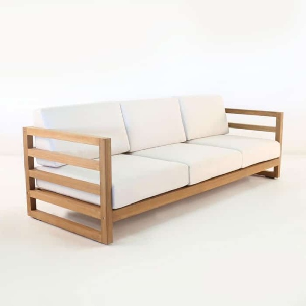 manhattan a-grade teak sofa with sunbrella cushions