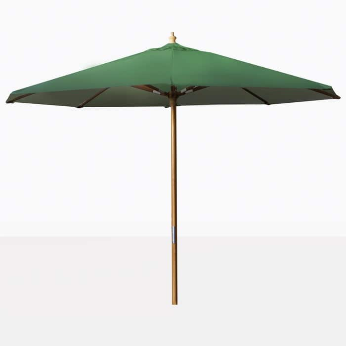 outdoor market patio umbrella with green canopy