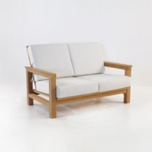 monterey teak loveseat with sunbrella cushions