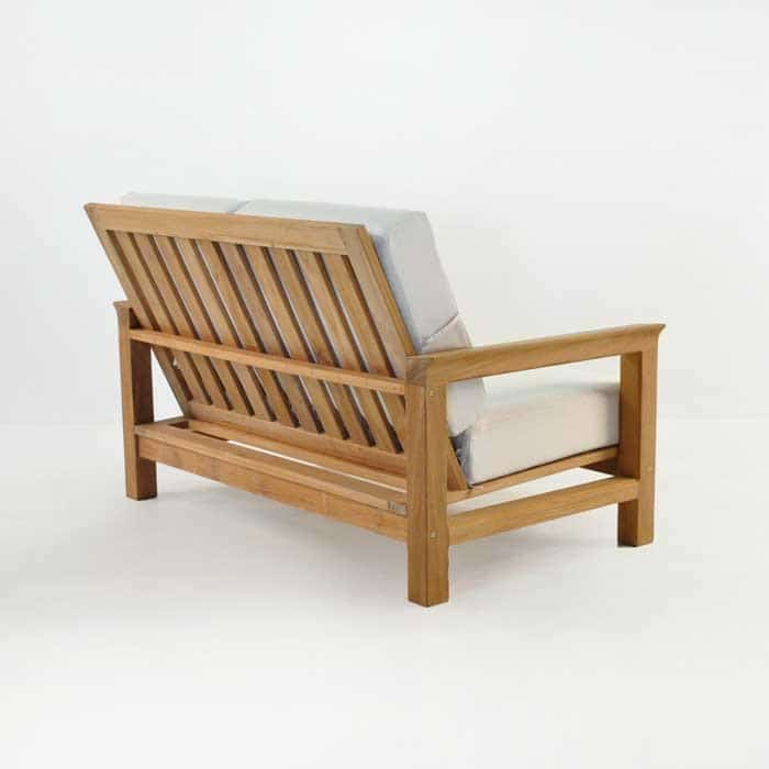 monterey teak loveseat back angle view