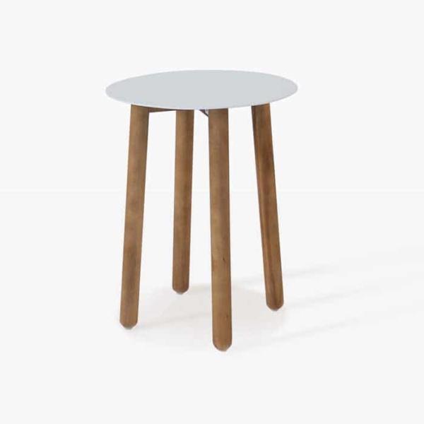 Apollo white a-grade teak accent table straight view