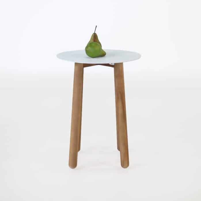 Apollo white a-grade teak side table with pear