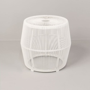 Barrel Outdoor Wicker Accent Table white side view