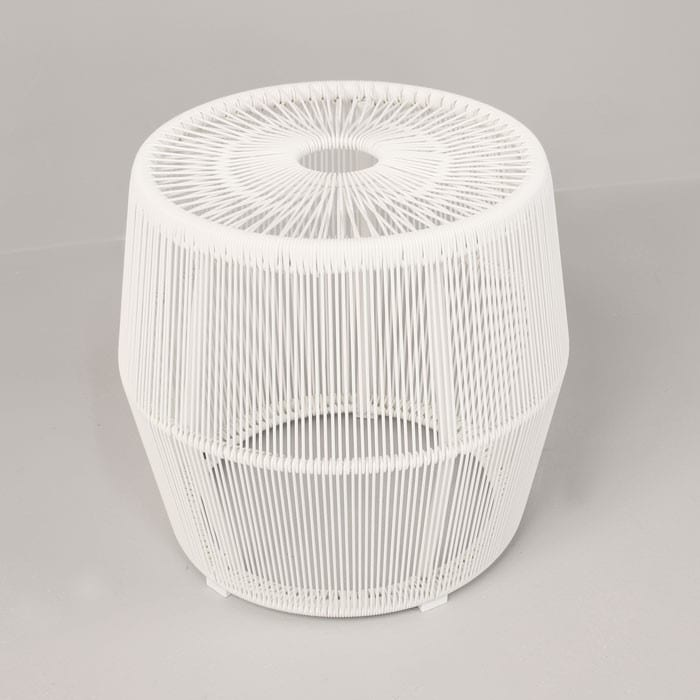 Barrel Outdoor Wicker Accent Table white side view2