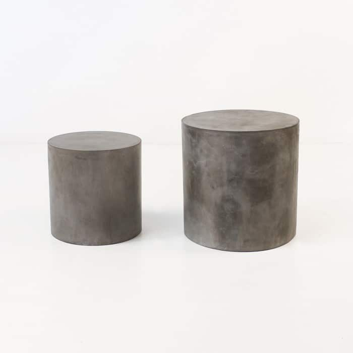 Blok Concrete Round Side Tables Outdoor Accent Design