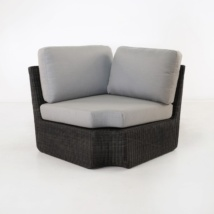Brooklyn Outdoor Wicker Sectional Corner Chair Charcoal front view