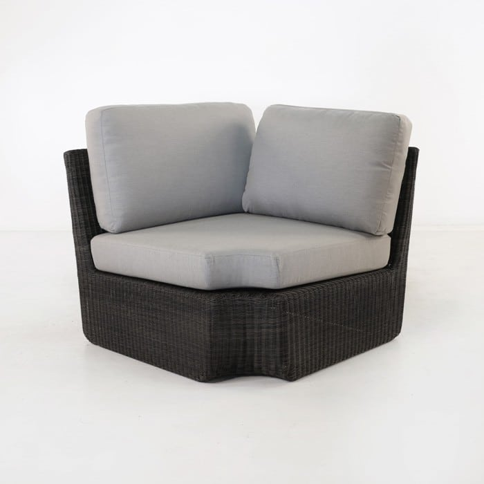 Brooklyn Patio Wicker Sectional Corner Sofa Charcoal