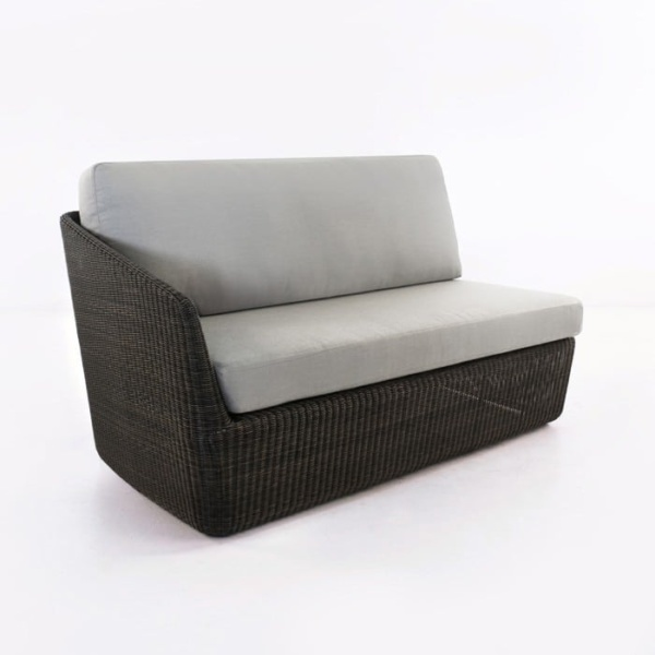 Brooklyn Outdoor Wicker Sectional Right Arm Sofa Charcoal front view