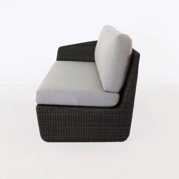 Brooklyn Outdoor Wicker Sectional Right Arm Sofa Charcoal side view