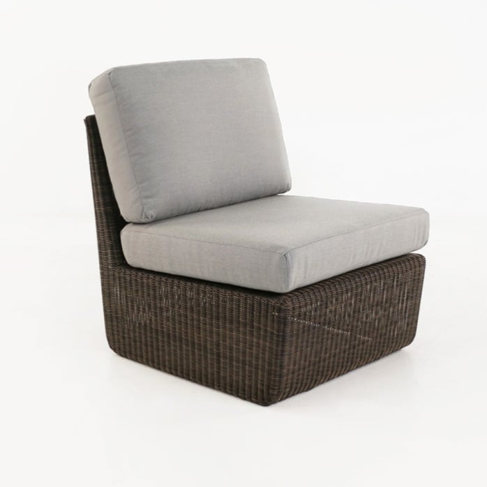 Brooklyn Outdoor Wicker Sectional Center Chair Mocha front view