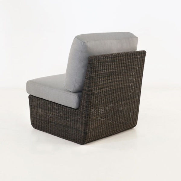 Brooklyn Outdoor Wicker Sectional Center Chair Mocha back view