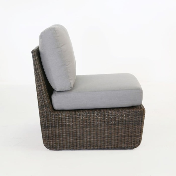 Brooklyn Outdoor Wicker Sectional Center Chair Mocha side view
