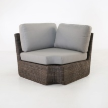 Brooklyn Outdoor Wicker Sectional Corner Chair Mocha fron view