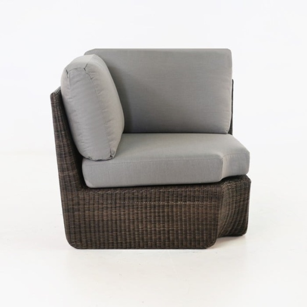 Brooklyn Outdoor Wicker Sectional Corner Chair Mocha side view