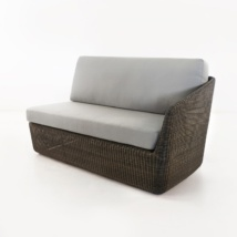 Brooklyn Outdoor Wicker Sectional Left Arm Sofa Mocha front view