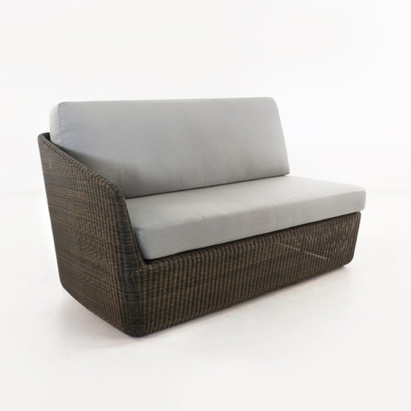 Brooklyn Outdoor Wicker Sectional Right Arm Sofa Mocha angled view