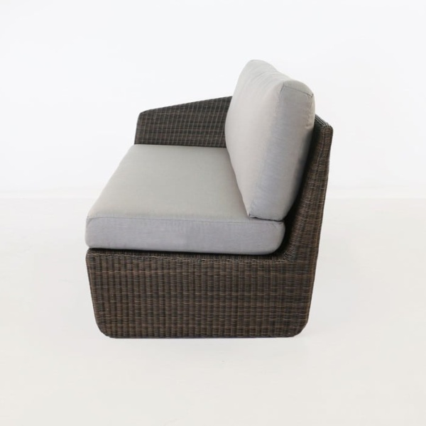 Brooklyn Outdoor Wicker Sectional Right Arm Sofa Mocha side view