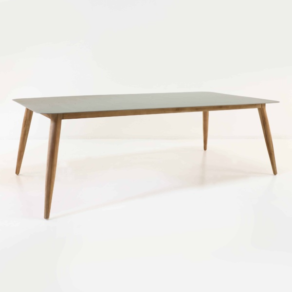Edition reclaimed teak and aluminum table