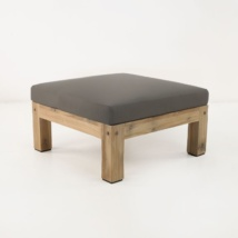 Lodge distressed teak ottoman with gray cushion
