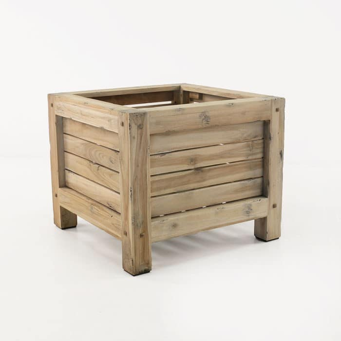 Lodge distressed teak planter