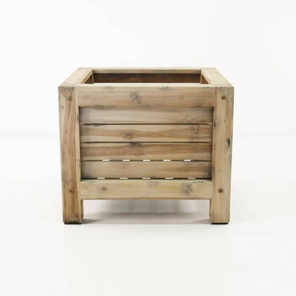 Lodge distressed teak planter side view