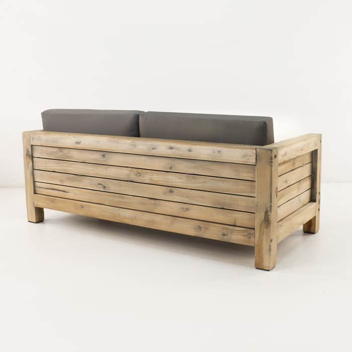 Lodge distressed teak loveseat back view
