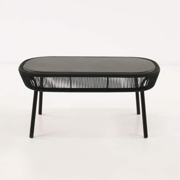 Luxe black accent table side view