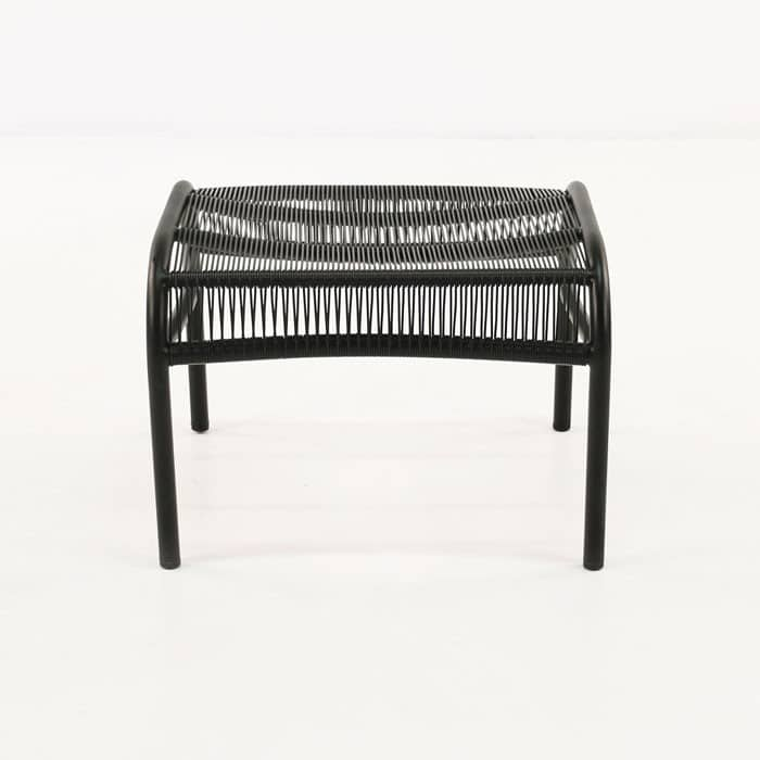 Luxe black ottoman side view