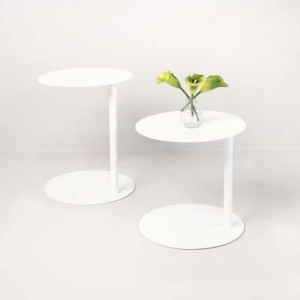 Mood two white aluminium side tables