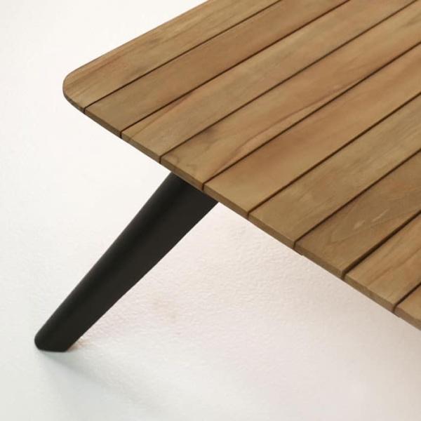 platform reclaimed teak coffee table closeup view