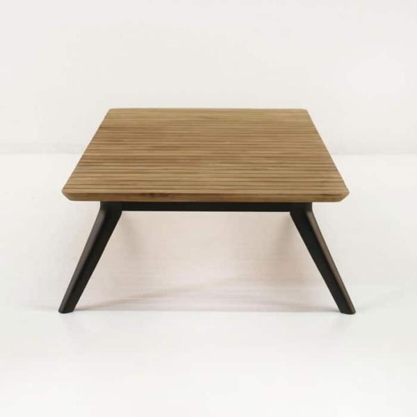 platform reclaimed teak coffee table end view