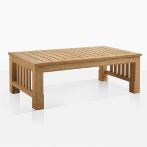 raffles outdoor teak coffee table angle